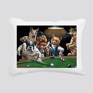 Dogs Playing Billiards Rectangular Canvas Pillow