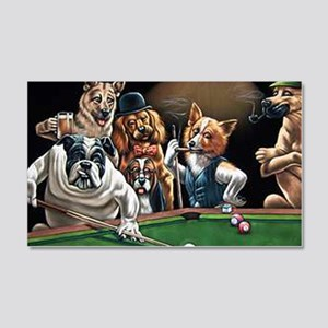 Dogs Playing Billiards 20x12 Wall Decal