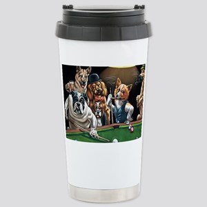 Dogs Playing Billiards Stainless Steel Travel Mug