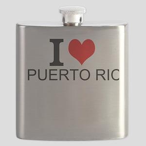 I Love Puerto Rico Flask