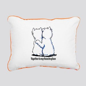 Hugging Westies Rectangular Canvas Pillow