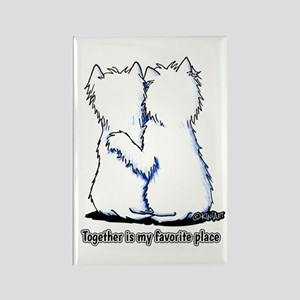 Hugging Westies Rectangle Magnet