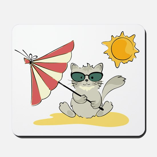 Cool Beach Cat with Umbrella and Sunglas Mousepad