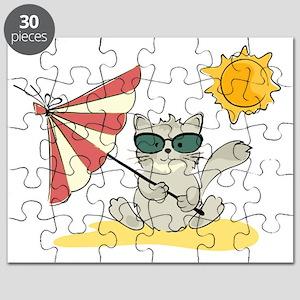 Cool Beach Cat with Umbrella and Sunglasses Puzzle
