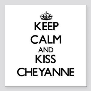 "Keep Calm and kiss Cheyanne Square Car Magnet 3"" x"
