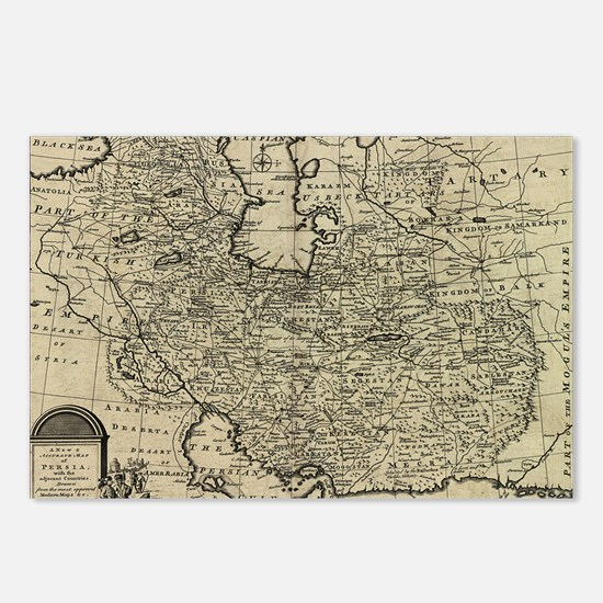 Persia Ancient Map 1747 Postcards (Package of 8)