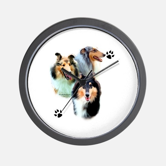 Collie Trio Wall Clock