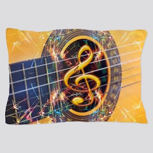 Acoustic Guitar Explosion of Music Pillow Case