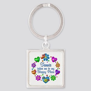 Tennis My Happy Place Square Keychain
