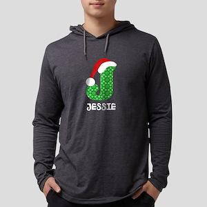 Christmas Letter J Monogram Mens Hooded Shirt
