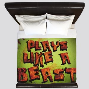 Plays Like A Beast Fastpitch Softball King Duvet