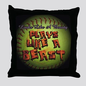 Plays Like A Beast Fastpitch Softball Throw Pillow