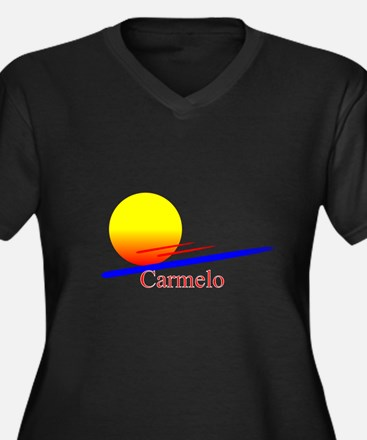 Carmelo Women's Plus Size V-Neck Dark T-Shirt
