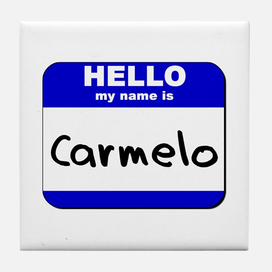 hello my name is carmelo  Tile Coaster