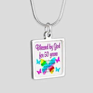 DELIGHTFUL 50TH Silver Square Necklace