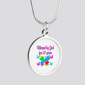 DELIGHTFUL 50TH Silver Round Necklace