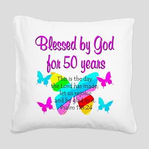 DELIGHTFUL 50TH Square Canvas Pillow