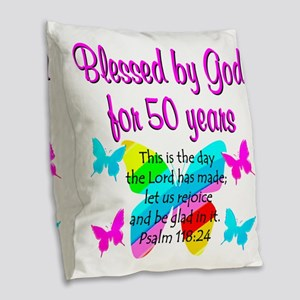 DELIGHTFUL 50TH Burlap Throw Pillow