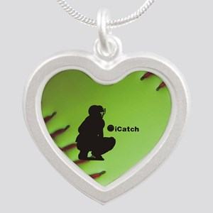 iCatch Fastpitch Softball Silver Heart Necklace