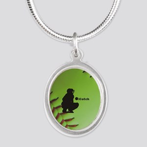 iCatch Fastpitch Softball Silver Oval Necklace