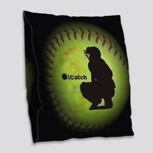 iCatch Fastpitch Softball Burlap Throw Pillow