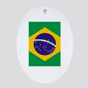 Brazil Flag Oval Ornament