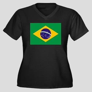 Brazil Flag Women's Plus Size V-Neck Dark T-Shirt