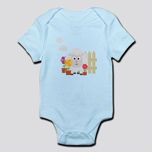 Gardening Sheep with flowers C67e8 Body Suit