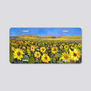 Sunflower Field - By Helen  Aluminum License Plate