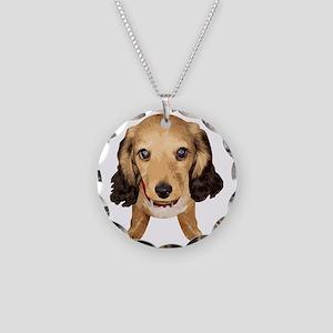 DAchshund003 Necklace Circle Charm