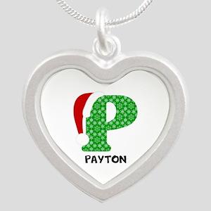 Christmas Letter P Monogram Silver Heart Necklace