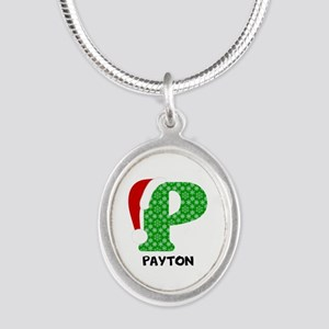Christmas Letter P Monogram Silver Oval Necklace