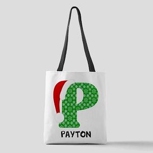Christmas Letter P Monogram Polyester Tote Bag