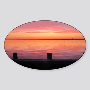 Serenity Sunset over LBI Sticker (Oval)