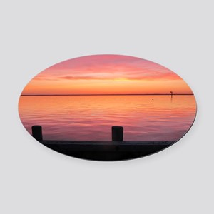 Serenity Sunset over LBI Oval Car Magnet