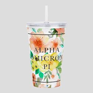 Alpha Omicron Pi Flora Acrylic Double-wall Tumbler