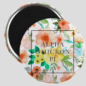 Alpha Omicron Pi Floral Magnet