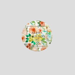 Alpha Omicron Pi Floral Mini Button