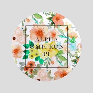 "Alpha Omicron Pi Floral 3.5"" Button"