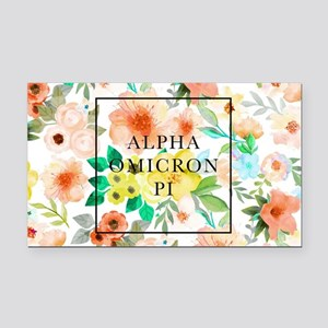 Alpha Omicron Pi Floral Rectangle Car Magnet