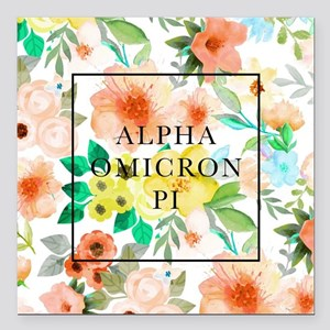 "Alpha Omicron Pi Floral Square Car Magnet 3"" x 3"""
