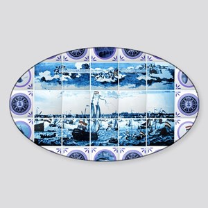 Vintage Old Dutch Delftware Style M Sticker (Oval)