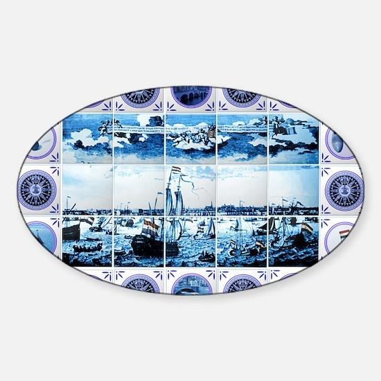 Vintage Old Dutch Delftware Style M Sticker (Oval)