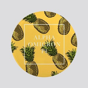 """Alpha Omicron Pi Pineapples 3.5"""" Button"""