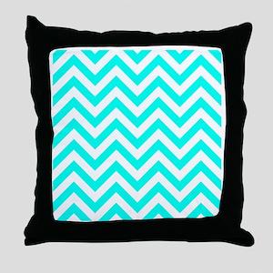 Turquoise chevrons 2 Throw Pillow