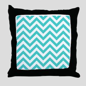 Turquoise chevrons 3 Throw Pillow