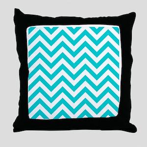 Turquoise chevrons 4 Throw Pillow