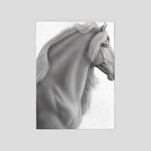 Proud Friesian Horse 5'x7'Area Rug