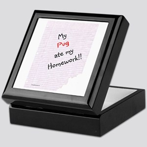 Pug Homework Keepsake Box