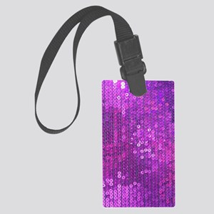 Purple Sequin Pattern Large Luggage Tag
